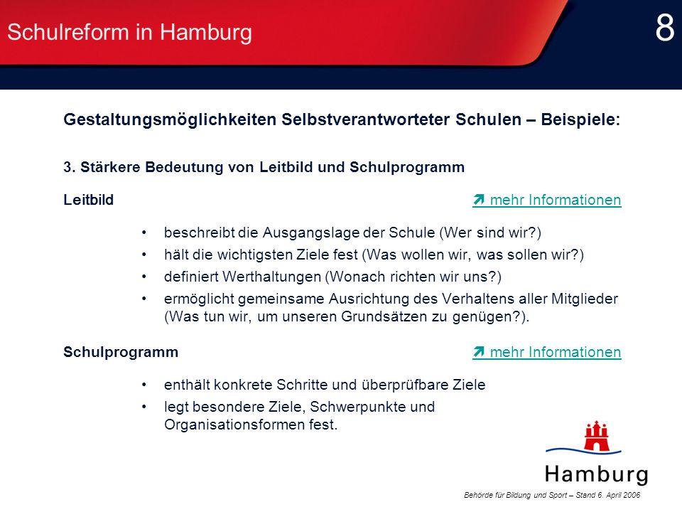 Behörde für Bildung und Sport – Stand 6. April 2006 8 8 Schulreform in Hamburg Gestaltungsmöglichkeiten Selbstverantworteter Schulen – Beispiele: 3. S