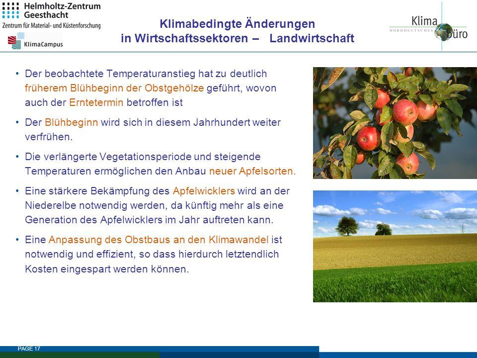 PAGE 17 Klimabedingte Änderungen in Wirtschaftssektoren – Landwirtschaft Der beobachtete Temperaturanstieg hat zu deutlich früherem Blühbeginn der Obs