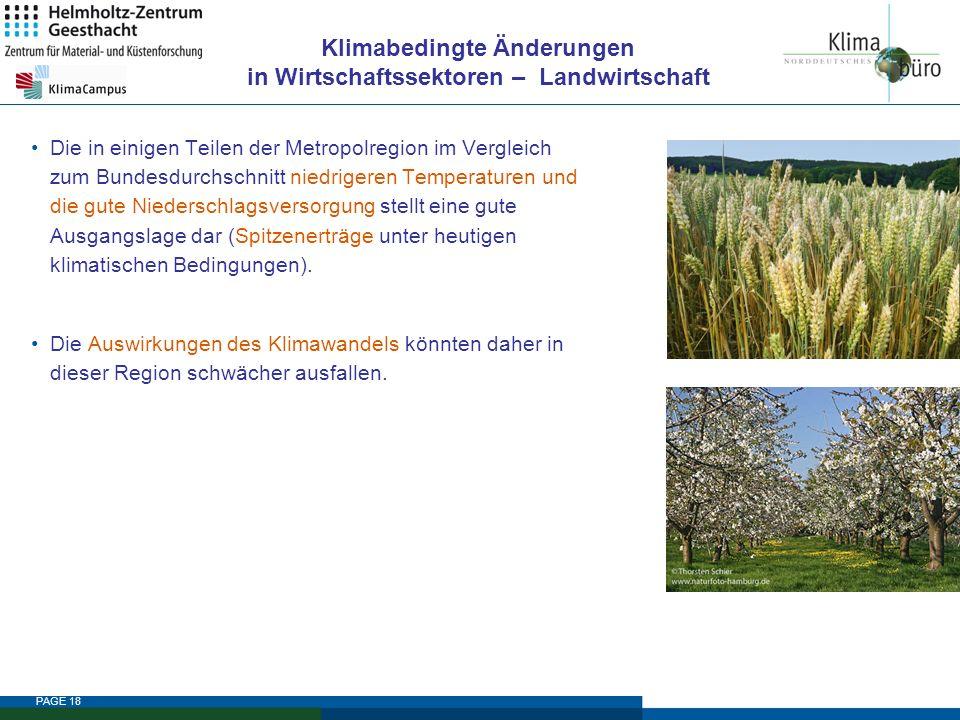 PAGE 18 Klimabedingte Änderungen in Wirtschaftssektoren – Landwirtschaft Die in einigen Teilen der Metropolregion im Vergleich zum Bundesdurchschnitt