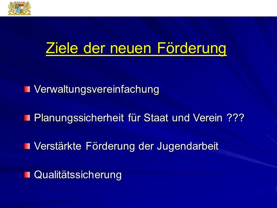 Ziele der neuen Förderung Verwaltungsvereinfachung Planungssicherheit für Staat und Verein ??.
