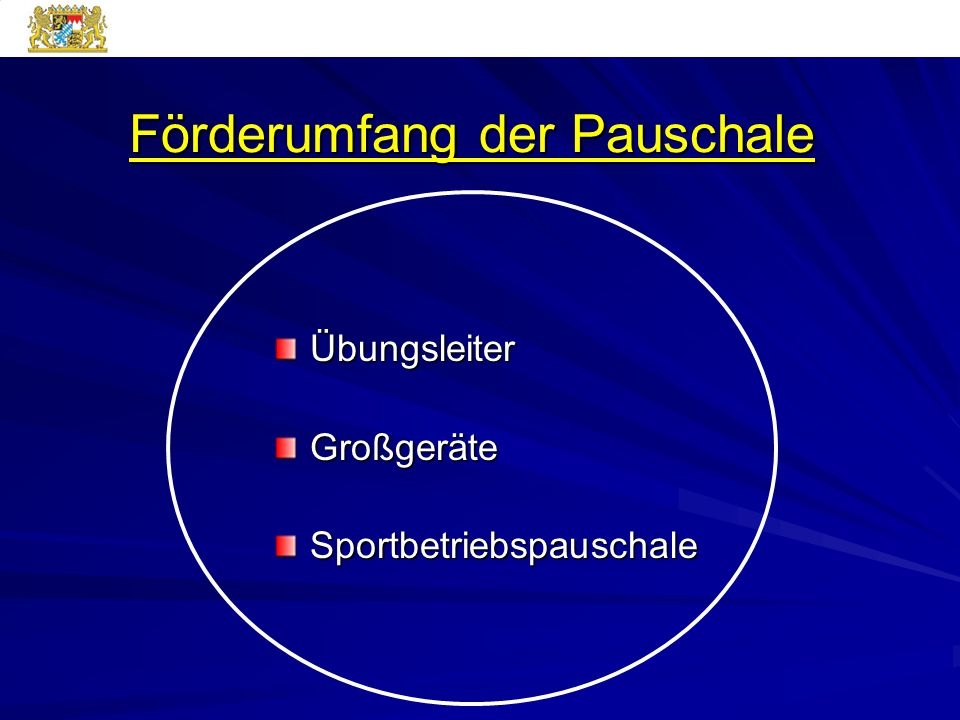 Förderumfang der Pauschale ÜbungsleiterGroßgeräteSportbetriebspauschale