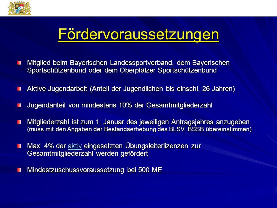 Fördervoraussetzungen Mitglied beim Bayerischen Landessportverband, dem Bayerischen Sportschützenbund oder dem Oberpfälzer Sportschützenbund Aktive Ju