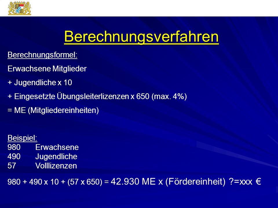 Berechnungsverfahren Berechnungsformel: Erwachsene Mitglieder + Jugendliche x 10 + Eingesetzte Übungsleiterlizenzen x 650 (max. 4%) = ME (Mitgliederei