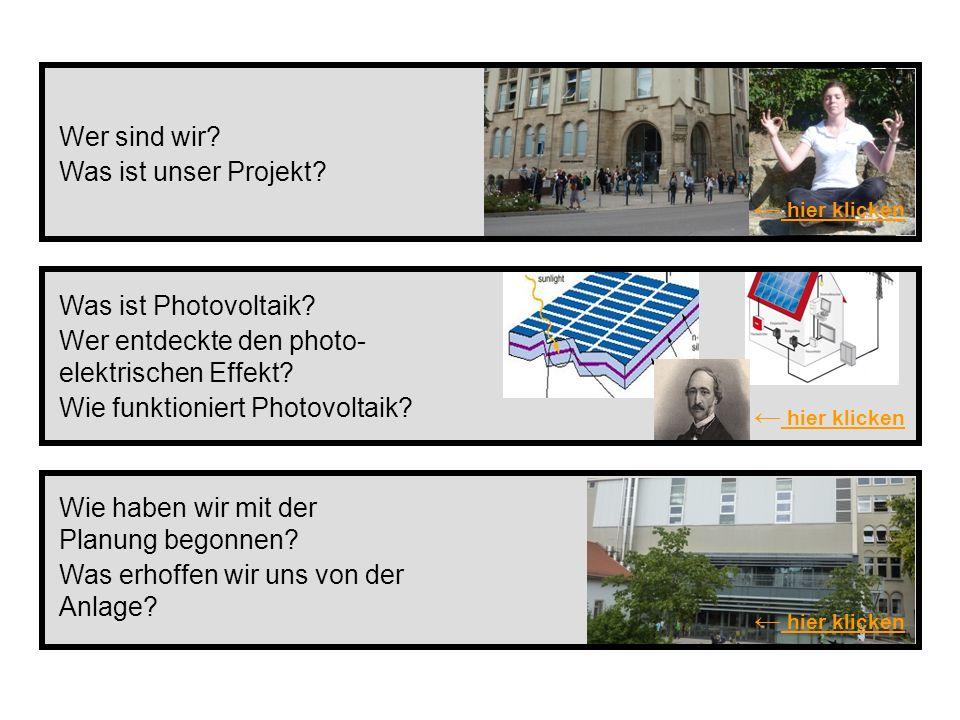 Was ist Photovoltaik? Wer entdeckte den photo- elektrischen Effekt? Wie funktioniert Photovoltaik? hier klicken Wer sind wir? Was ist unser Projekt? W
