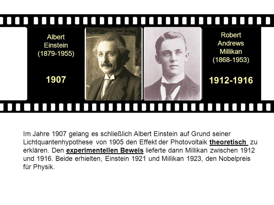 Robert Andrews Millikan (1868-1953) 1912-1916 Albert Einstein (1879-1955) 1907 Im Jahre 1907 gelang es schließlich Albert Einstein auf Grund seiner Li