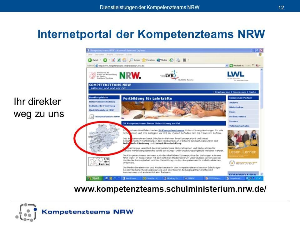 Dienstleistungen der Kompetenzteams NRW 12 www.kompetenzteams.schulministerium.nrw.de/ Internetportal der Kompetenzteams NRW Ihr direkter weg zu uns