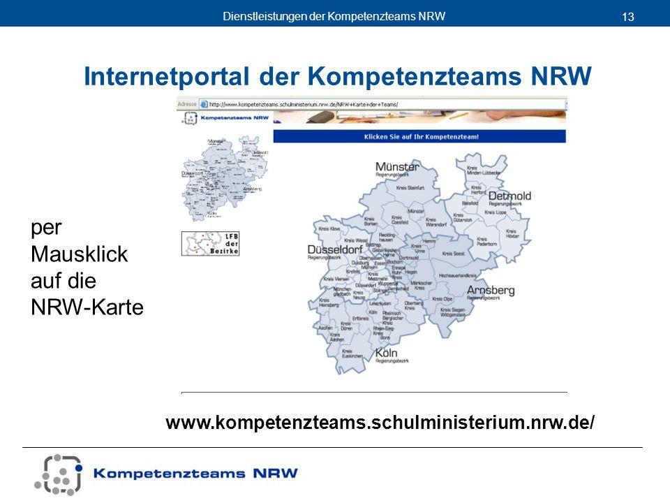 Dienstleistungen der Kompetenzteams NRW 13 www.kompetenzteams.schulministerium.nrw.de/ Internetportal der Kompetenzteams NRW per Mausklick auf die NRW