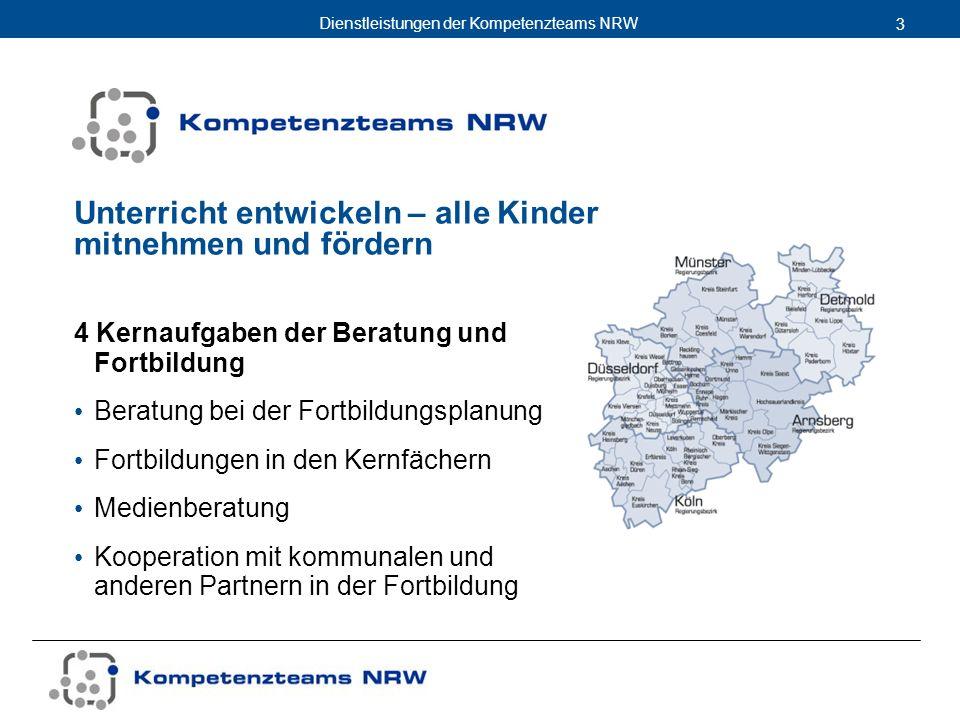 Dienstleistungen der Kompetenzteams NRW 3 Unterricht entwickeln – alle Kinder mitnehmen und fördern 4 Kernaufgaben der Beratung und Fortbildung Beratu