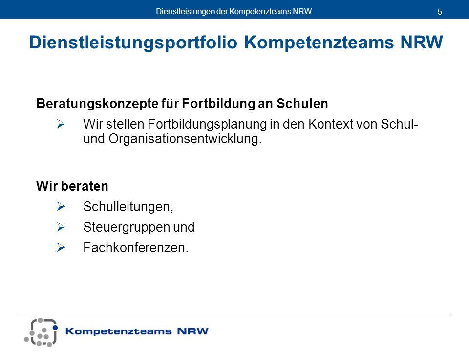 Dienstleistungen der Kompetenzteams NRW 5 Beratungskonzepte für Fortbildung an Schulen Wir stellen Fortbildungsplanung in den Kontext von Schul- und O