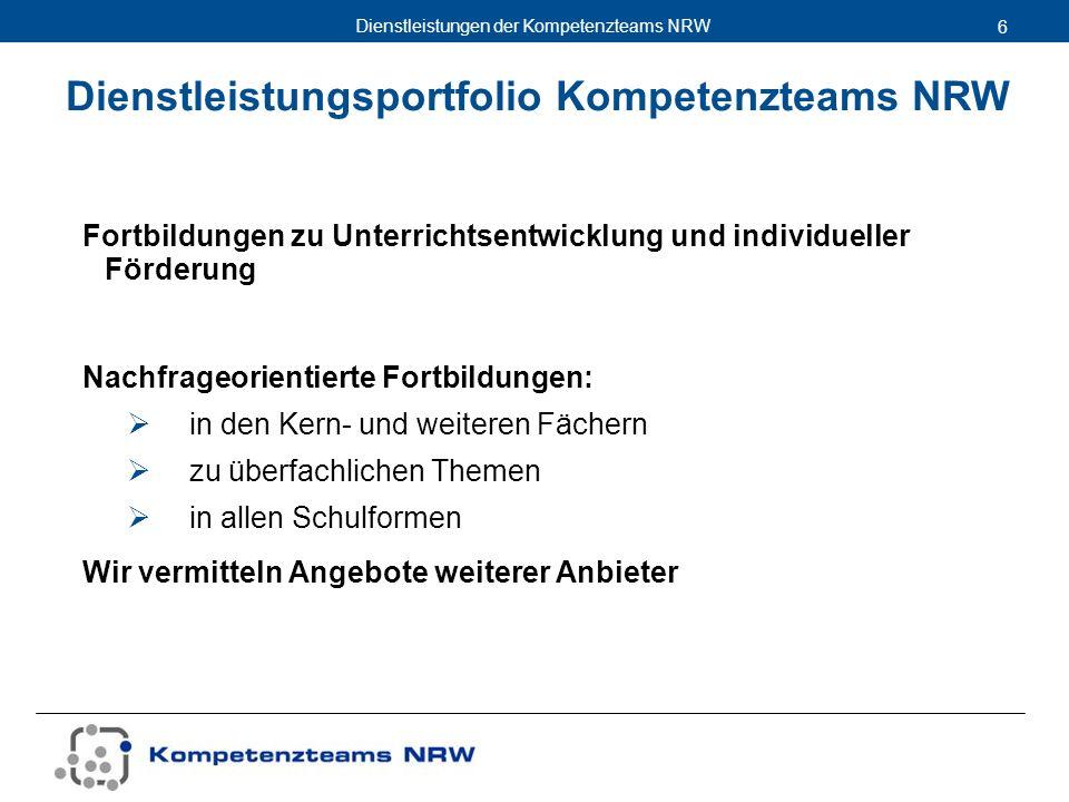 Dienstleistungen der Kompetenzteams NRW 6 Fortbildungen zu Unterrichtsentwicklung und individueller Förderung Nachfrageorientierte Fortbildungen: in d