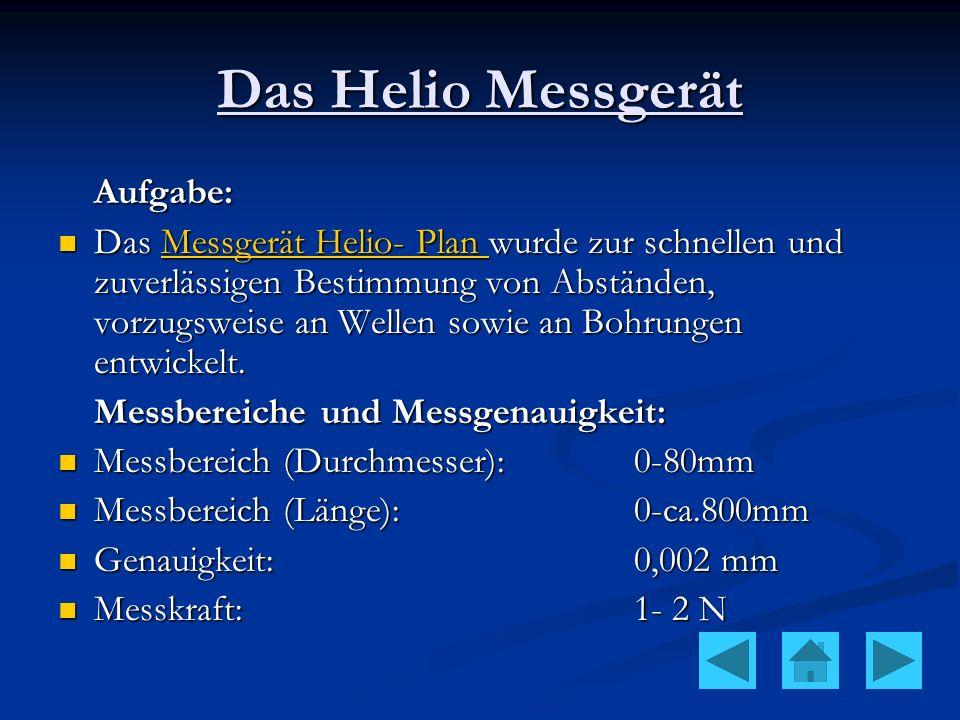 Das Helio Messgerät Aufgabe: Das Messgerät Helio- Plan wurde zur schnellen und zuverlässigen Bestimmung von Abständen, vorzugsweise an Wellen sowie an