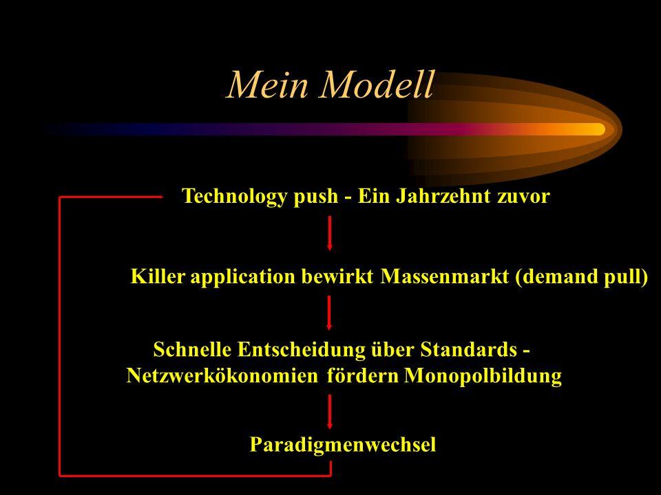 Mein Modell Technology push - Ein Jahrzehnt zuvor Killer application bewirkt Massenmarkt (demand pull) Schnelle Entscheidung über Standards - Netzwerk
