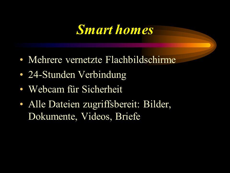 Smart homes Mehrere vernetzte Flachbildschirme 24-Stunden Verbindung Webcam für Sicherheit Alle Dateien zugriffsbereit: Bilder, Dokumente, Videos, Bri