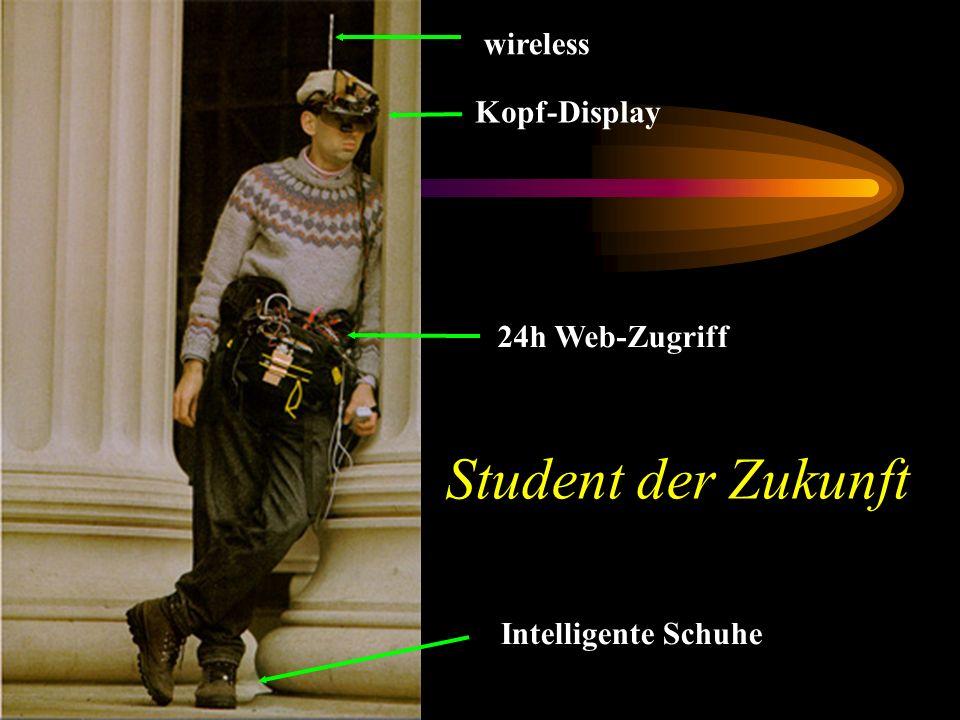 Student der Zukunft Kopf-Display wireless 24h Web-Zugriff Intelligente Schuhe