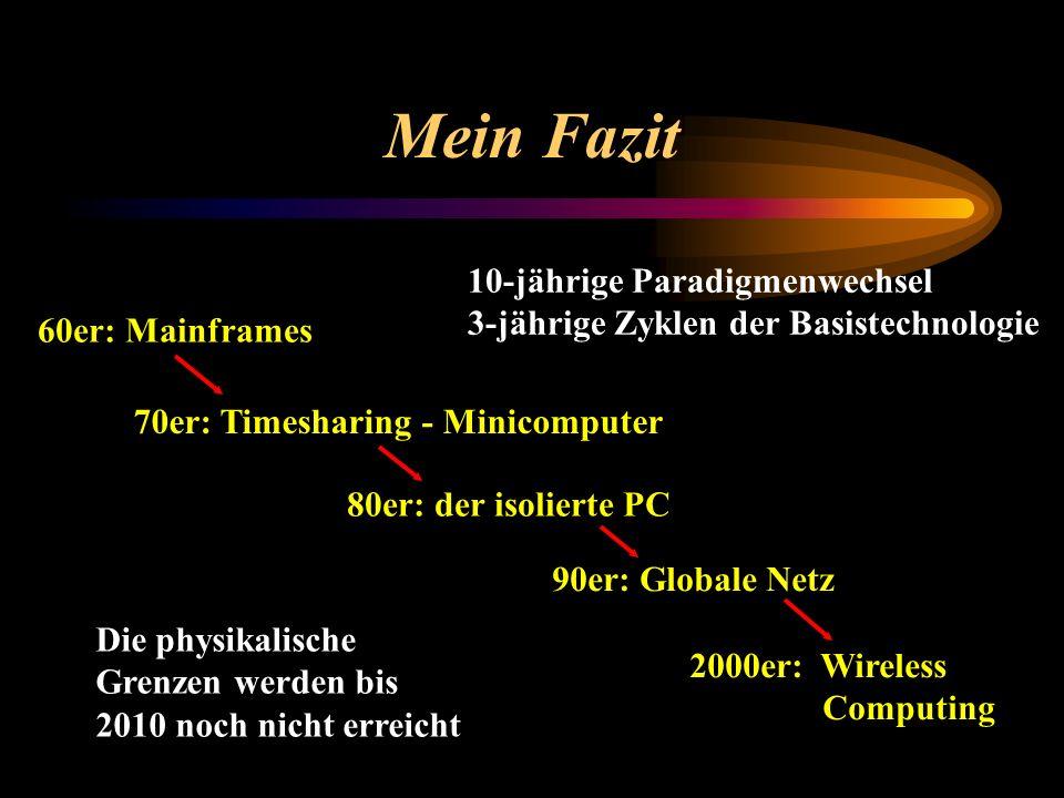 Mein Fazit 60er: Mainframes 70er: Timesharing - Minicomputer 80er: der isolierte PC 90er: Globale Netz 2000er: Wireless Computing Die physikalische Gr