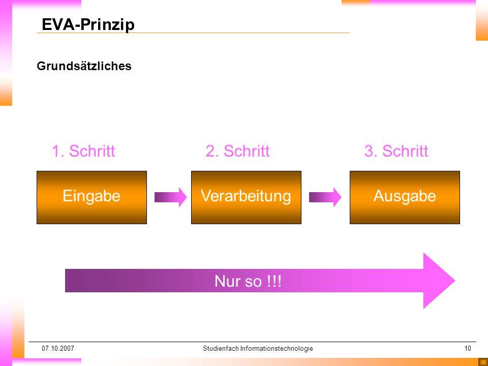 07.10.2007Studienfach Informationstechnologie10 Grundsätzliches EVA-Prinzip 1. Schritt Eingabe 2. Schritt Verarbeitung 3. Schritt Ausgabe Nur so !!!