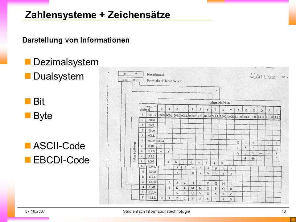 07.10.2007Studienfach Informationstechnologie18 Darstellung von Informationen Zahlensysteme + Zeichensätze nDezimalsystem nDualsystem n nBit n nByte n