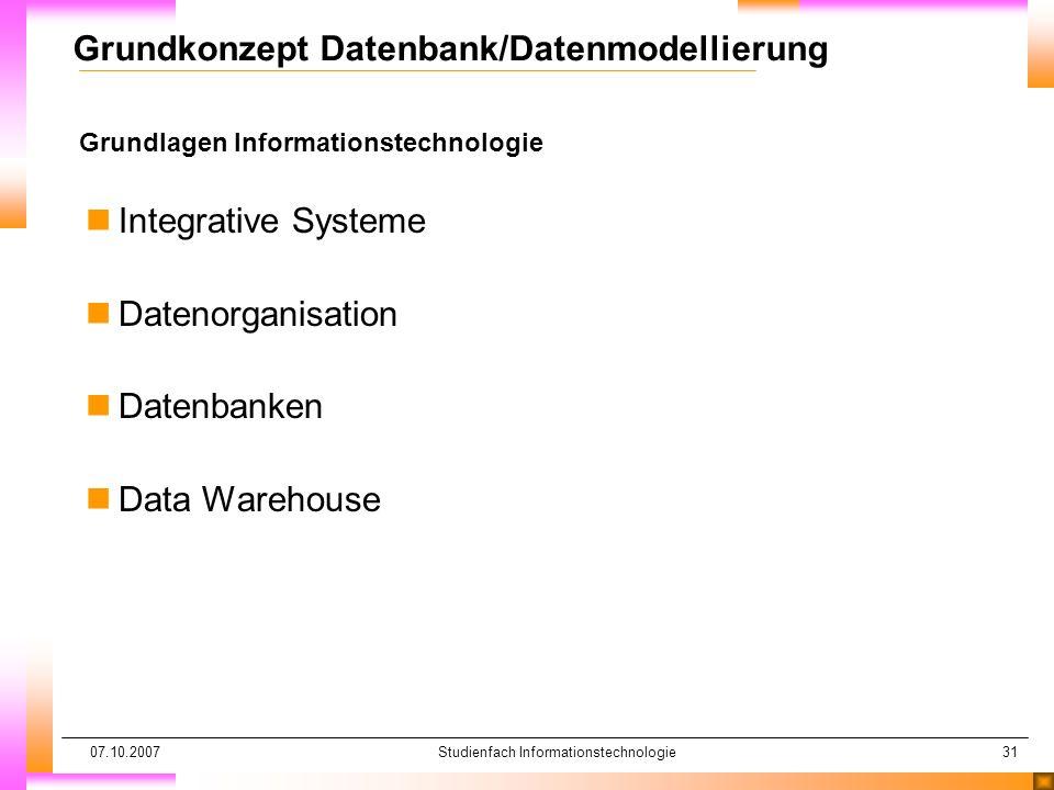 07.10.2007Studienfach Informationstechnologie31 Grundlagen Informationstechnologie Grundkonzept Datenbank/Datenmodellierung nIntegrative Systeme nDate