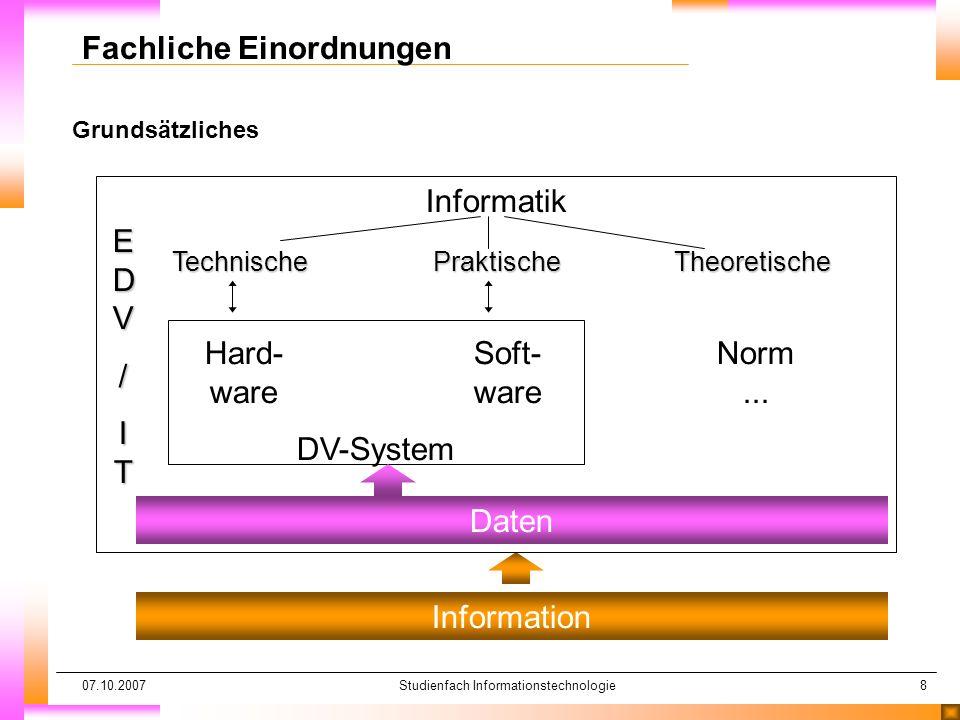 07.10.2007Studienfach Informationstechnologie8 Grundsätzliches Fachliche Einordnungen Information Daten EDVEDV//ITITEDVEDV//ITIT/ Informatik Technisch