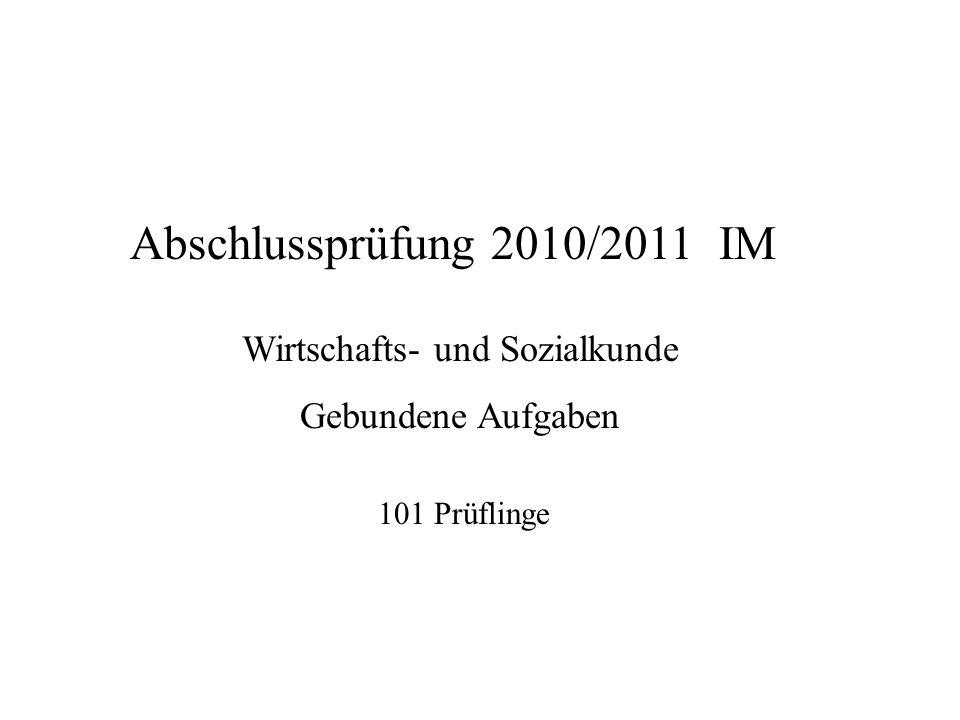 Abschlussprüfung 2010/2011 IM Wirtschafts- und Sozialkunde Gebundene Aufgaben 101 Prüflinge