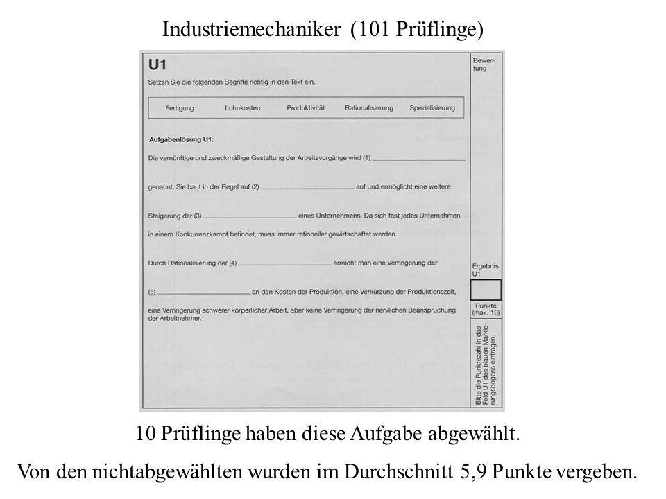 Industriemechaniker (101 Prüflinge) 10 Prüflinge haben diese Aufgabe abgewählt. Von den nichtabgewählten wurden im Durchschnitt 5,9 Punkte vergeben.