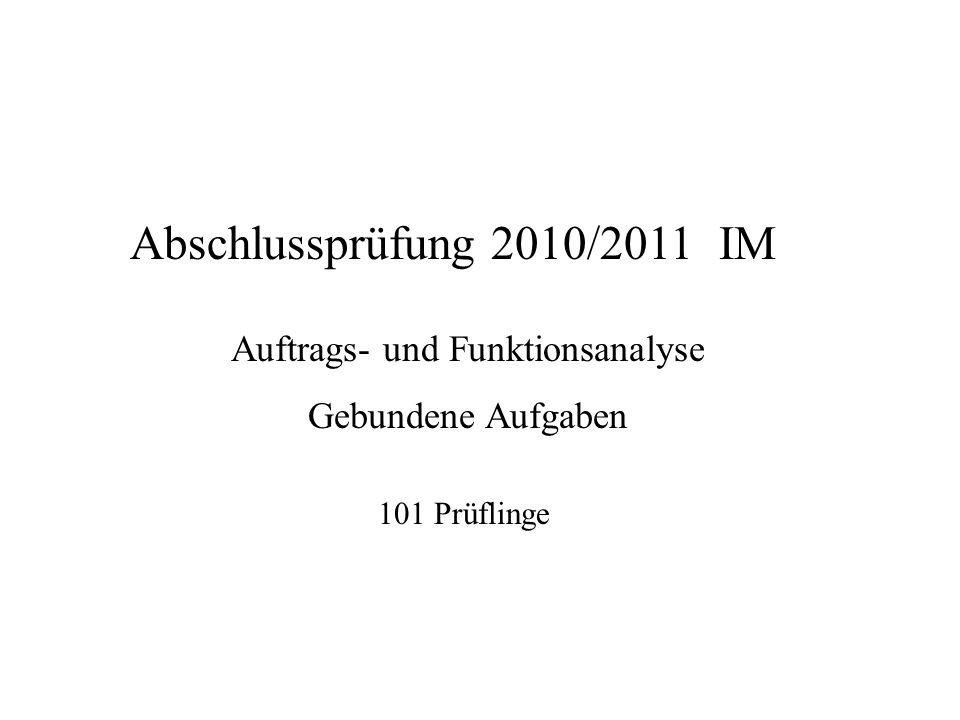 Abschlussprüfung 2010/2011 IM Auftrags- und Funktionsanalyse Gebundene Aufgaben 101 Prüflinge