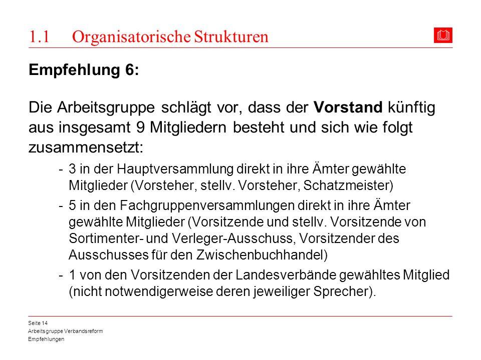 Arbeitsgruppe Verbandsreform Empfehlungen Seite 14 1.1 Organisatorische Strukturen Empfehlung 6: Die Arbeitsgruppe schlägt vor, dass der Vorstand künf