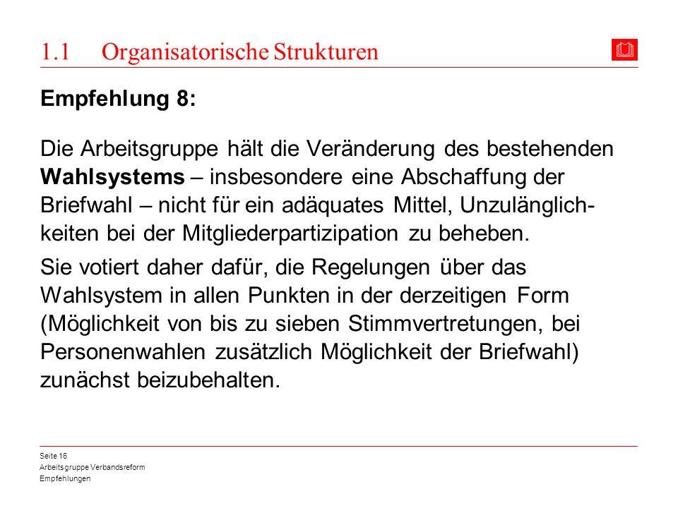 Arbeitsgruppe Verbandsreform Empfehlungen Seite 16 1.1 Organisatorische Strukturen Empfehlung 8: Die Arbeitsgruppe hält die Veränderung des bestehende