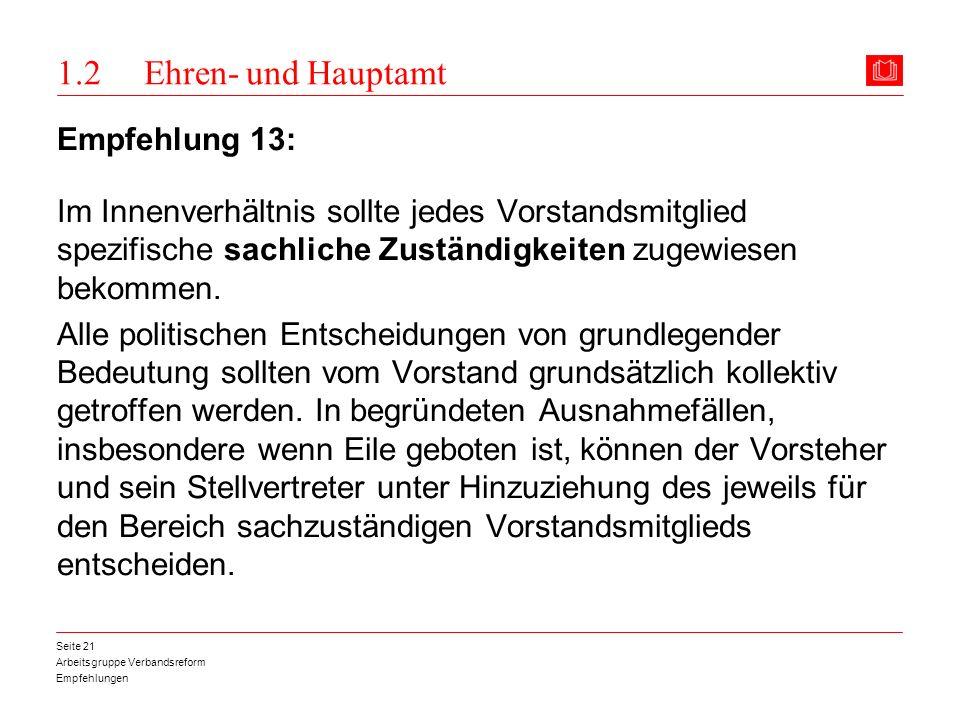 Arbeitsgruppe Verbandsreform Empfehlungen Seite 21 1.2 Ehren- und Hauptamt Empfehlung 13: Im Innenverhältnis sollte jedes Vorstandsmitglied spezifisch
