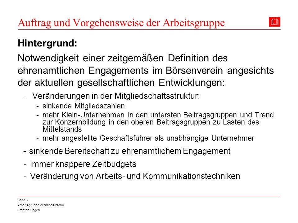 Arbeitsgruppe Verbandsreform Empfehlungen Seite 4 Auftrag und Vorgehensweise der Arbeitsgruppe Mitglieder der Arbeitsgruppe: Dr.