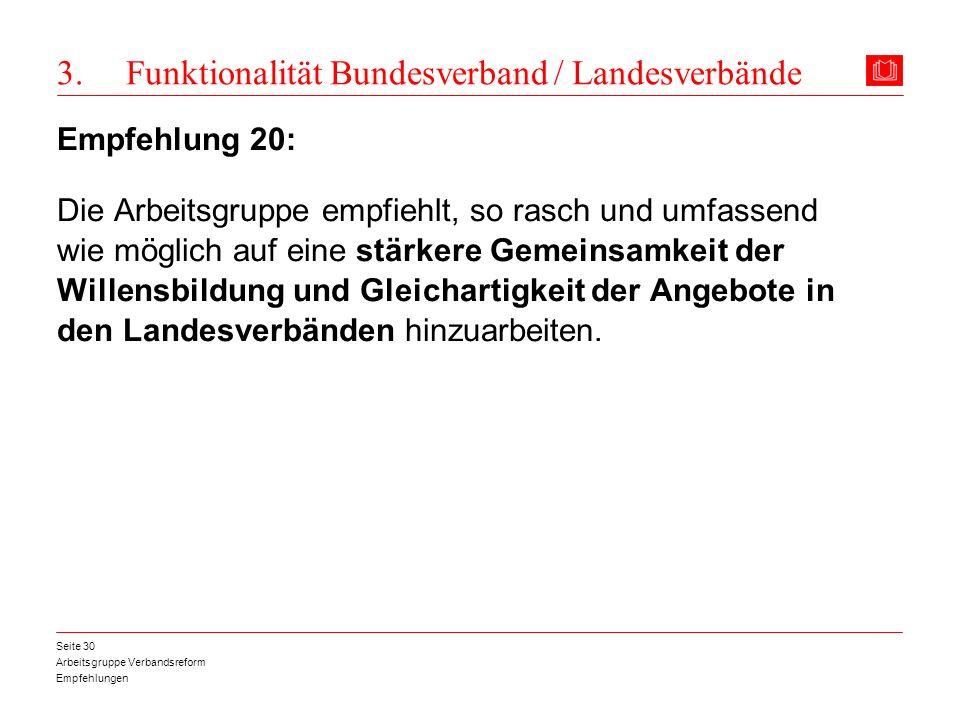 Arbeitsgruppe Verbandsreform Empfehlungen Seite 30 3. Funktionalität Bundesverband / Landesverbände Empfehlung 20: Die Arbeitsgruppe empfiehlt, so ras
