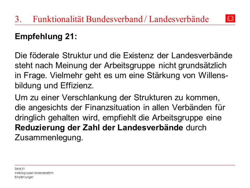 Arbeitsgruppe Verbandsreform Empfehlungen Seite 31 3. Funktionalität Bundesverband / Landesverbände Empfehlung 21: Die föderale Struktur und die Exist