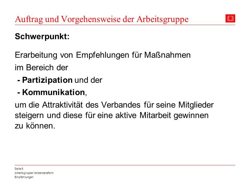 Arbeitsgruppe Verbandsreform Empfehlungen Seite 6 Auftrag und Vorgehensweise der Arbeitsgruppe Schwerpunkt: Erarbeitung von Empfehlungen für Maßnahmen