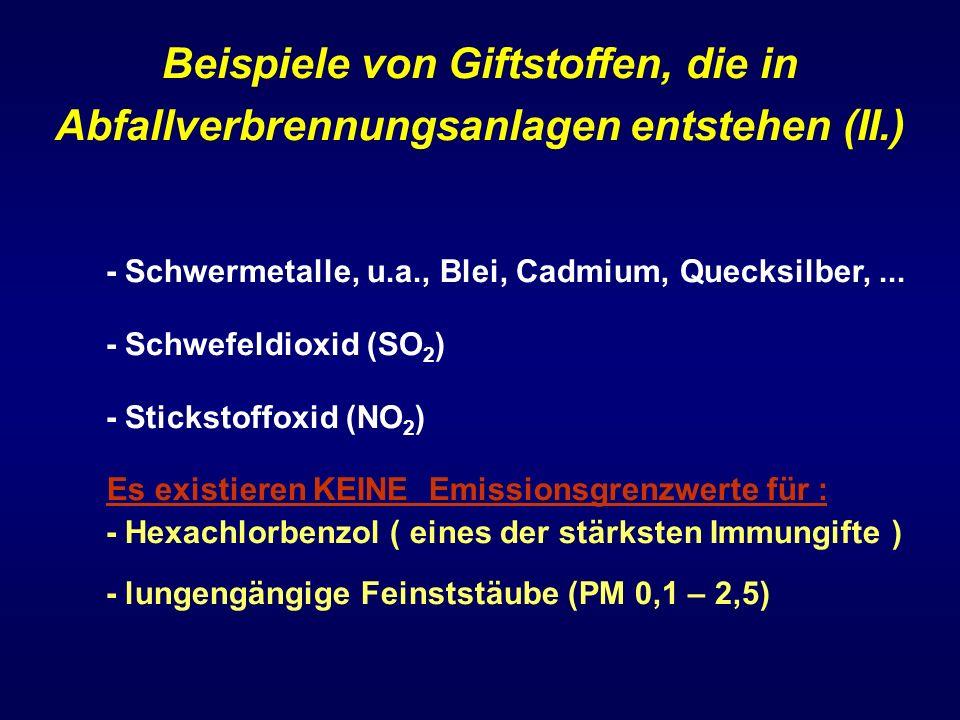 Beispiele von Giftstoffen, die in Abfallverbrennungsanlagen entstehen (II.) - Schwermetalle, u.a., Blei, Cadmium, Quecksilber,... - Schwefeldioxid (SO