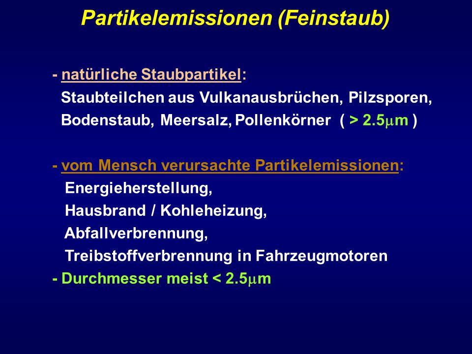 Partikelemissionen (Feinstaub) - natürliche Staubpartikel: Staubteilchen aus Vulkanausbrüchen, Pilzsporen, Bodenstaub, Meersalz, Pollenkörner ( > 2.5