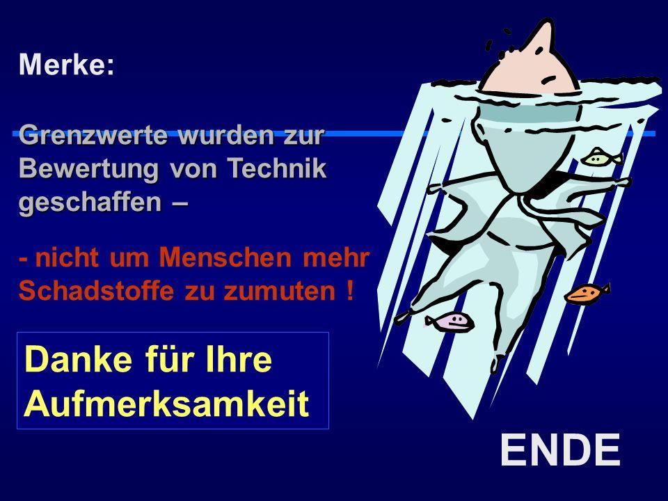 ENDE Merke: Grenzwerte wurden zur Bewertung von Technik geschaffen – - nicht um Menschen mehr Schadstoffe zu zumuten ! Danke für Ihre Aufmerksamkeit