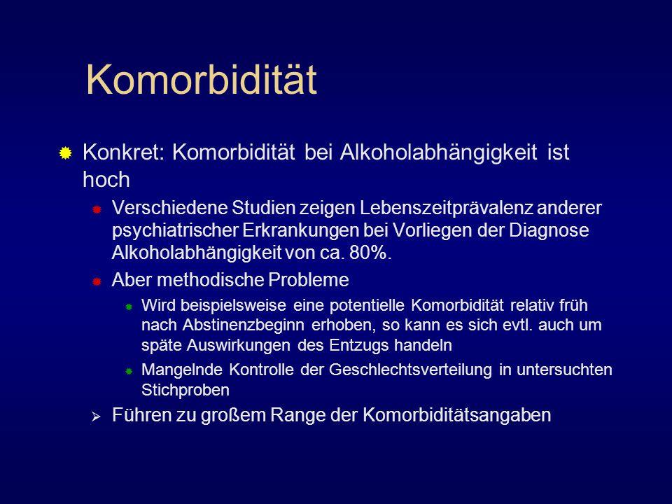 Komorbidität Konkret: Komorbidität bei Alkoholabhängigkeit ist hoch Verschiedene Studien zeigen Lebenszeitprävalenz anderer psychiatrischer Erkrankung