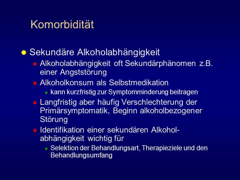 Komorbidität Sekundäre Alkoholabhängigkeit Alkoholabhängigkeit oft Sekundärphänomen z.B. einer Angststörung Alkoholkonsum als Selbstmedikation kann ku