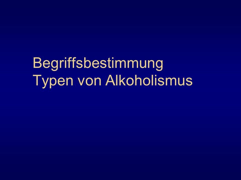 Begriffsbestimmung Typen von Alkoholismus