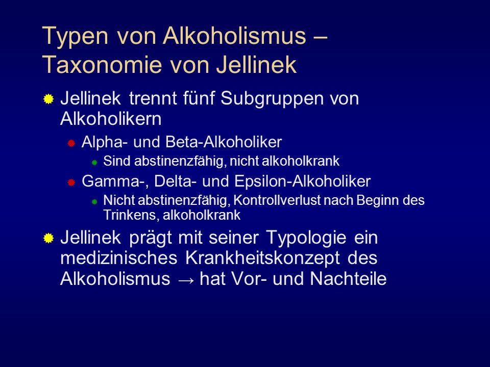 Typen von Alkoholismus – Taxonomie von Jellinek Jellinek trennt fünf Subgruppen von Alkoholikern Alpha- und Beta-Alkoholiker Sind abstinenzfähig, nich