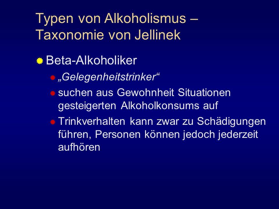 Typen von Alkoholismus – Taxonomie von Jellinek Beta-Alkoholiker Gelegenheitstrinker suchen aus Gewohnheit Situationen gesteigerten Alkoholkonsums auf