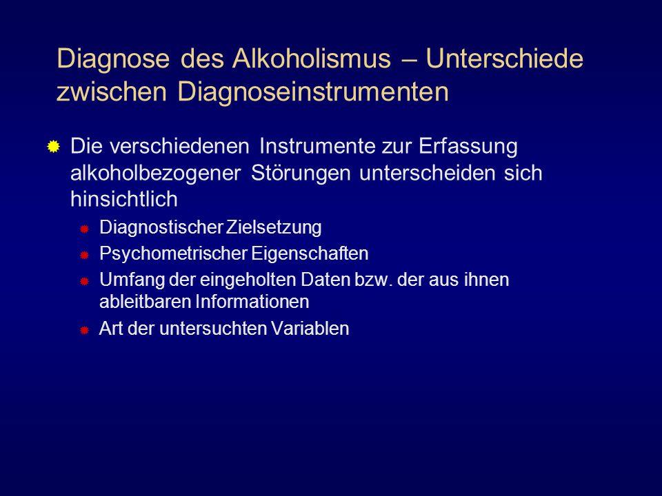 Diagnose des Alkoholismus – Unterschiede zwischen Diagnoseinstrumenten Die verschiedenen Instrumente zur Erfassung alkoholbezogener Störungen untersch