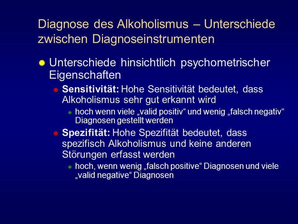 Diagnose des Alkoholismus – Unterschiede zwischen Diagnoseinstrumenten Unterschiede hinsichtlich psychometrischer Eigenschaften Sensitivität: Hohe Sen