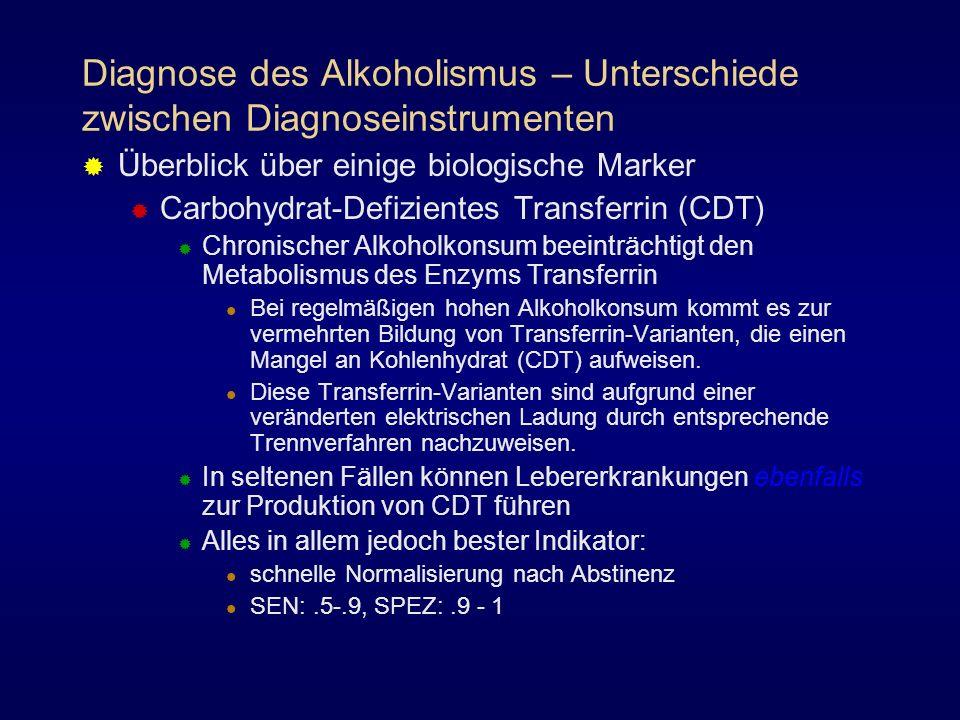 Diagnose des Alkoholismus – Unterschiede zwischen Diagnoseinstrumenten Überblick über einige biologische Marker Carbohydrat-Defizientes Transferrin (C