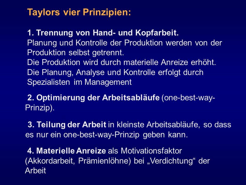 Taylors vier Prinzipien: 1. Trennung von Hand- und Kopfarbeit. Planung und Kontrolle der Produktion werden von der Produktion selbst getrennt. Die Pro