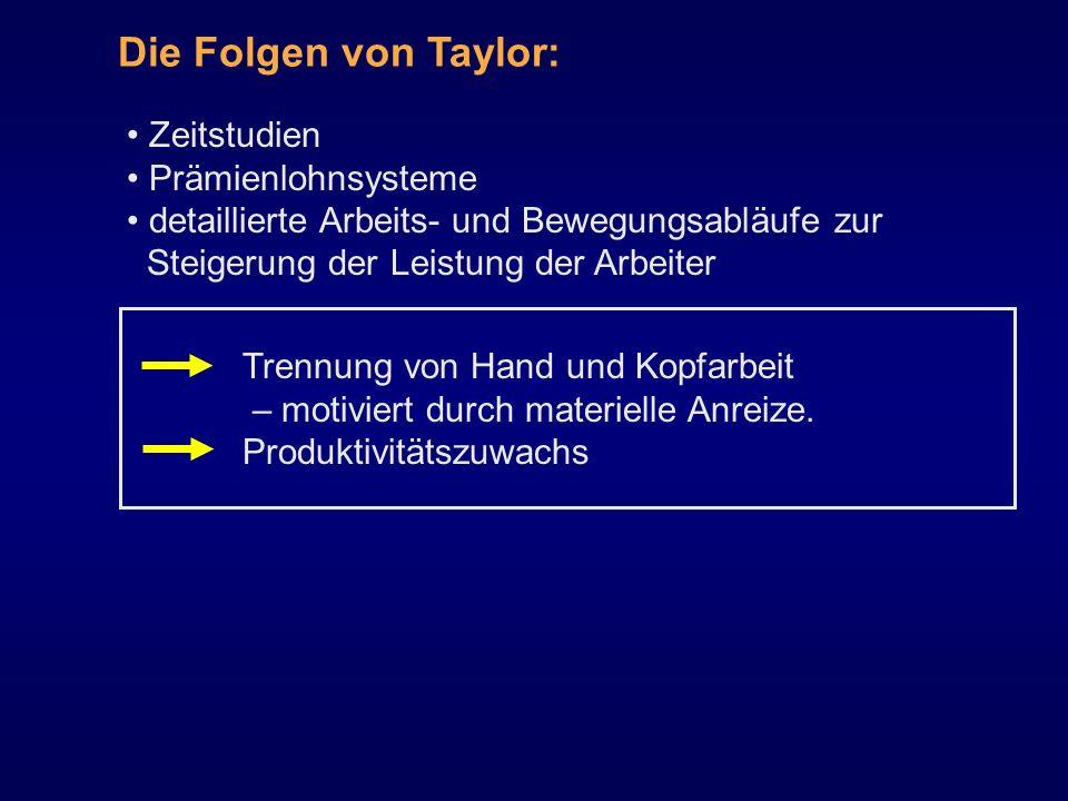 Zeitstudien Prämienlohnsysteme detaillierte Arbeits- und Bewegungsabläufe zur Steigerung der Leistung der Arbeiter Die Folgen von Taylor: Trennung von