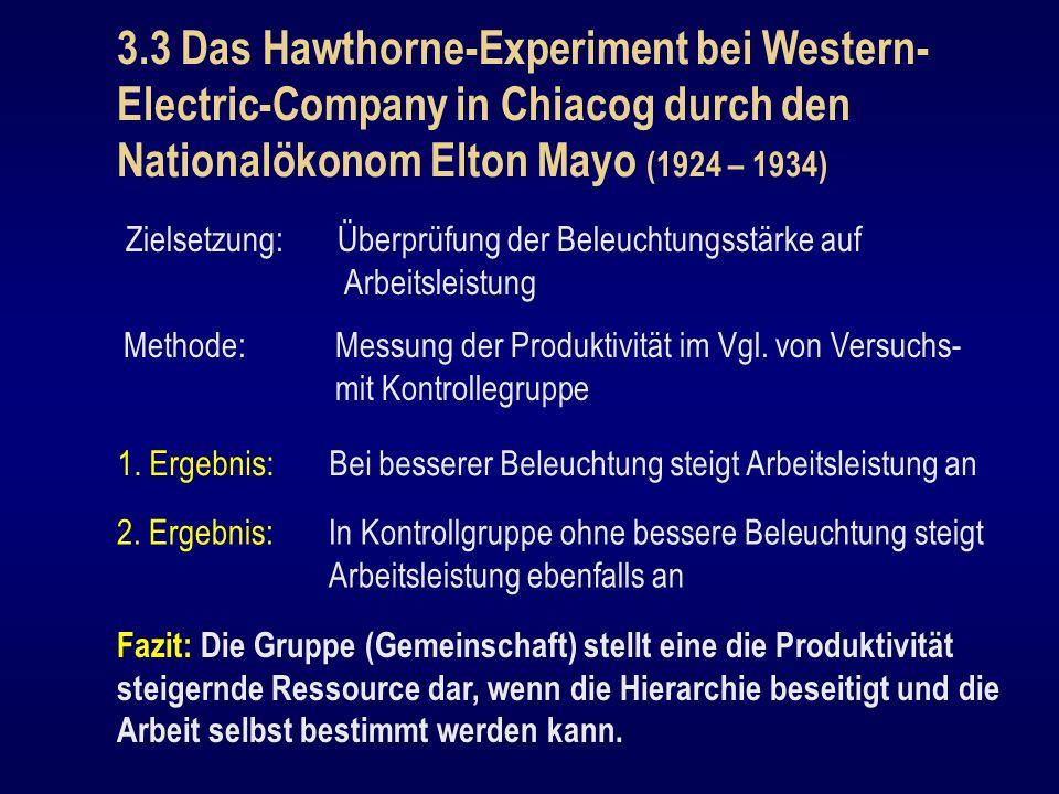 3.3 Das Hawthorne-Experiment bei Western- Electric-Company in Chiacog durch den Nationalökonom Elton Mayo (1924 – 1934) Zielsetzung: Überprüfung der B