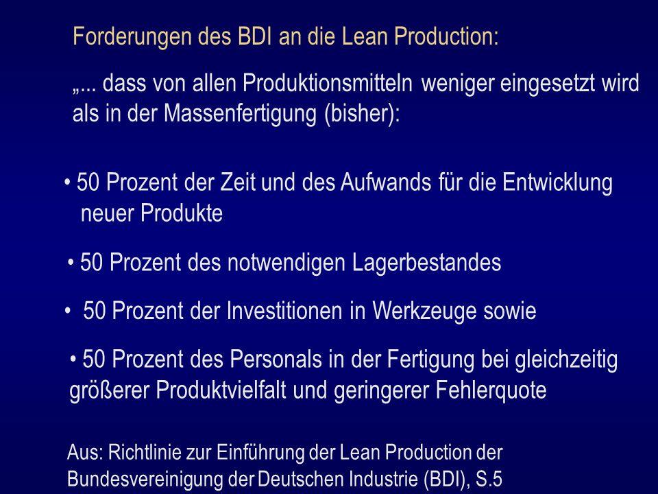Forderungen des BDI an die Lean Production:... dass von allen Produktionsmitteln weniger eingesetzt wird als in der Massenfertigung (bisher): 50 Proze