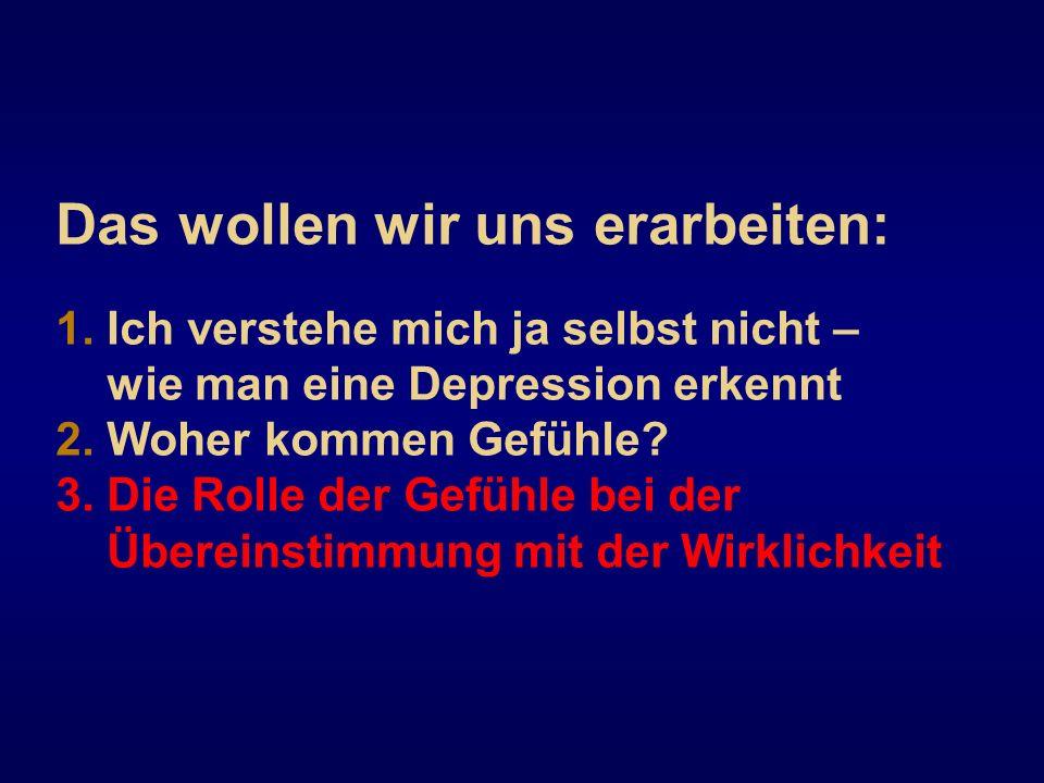 Das wollen wir uns erarbeiten: 1. Ich verstehe mich ja selbst nicht – wie man eine Depression erkennt 2. Woher kommen Gefühle? 3. Die Rolle der Gefühl