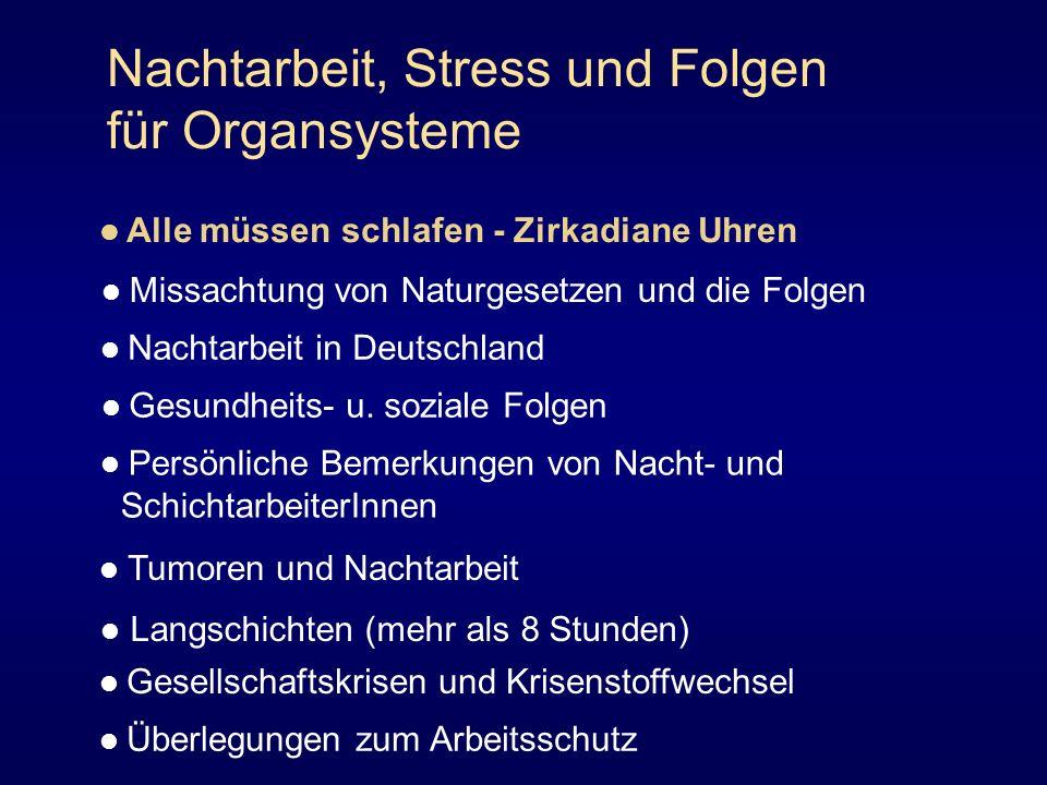Nachtarbeit, Stress und Folgen für Organsysteme Alle müssen schlafen - Zirkadiane Uhren Missachtung von Naturgesetzen und die Folgen Nachtarbeit in De